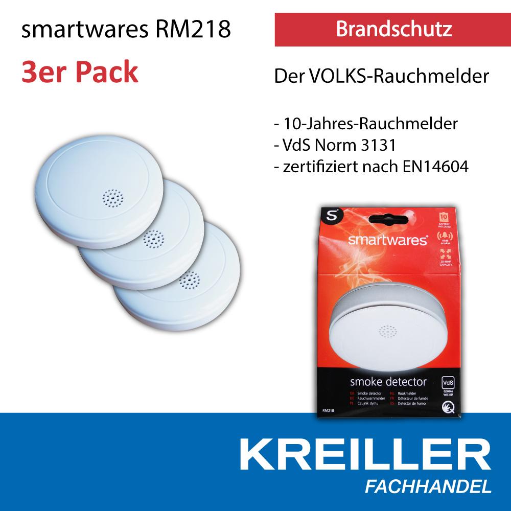 3x smartwares rm 218 rauchmelder 10 jahre lithium batterie volksrauchmelder. Black Bedroom Furniture Sets. Home Design Ideas